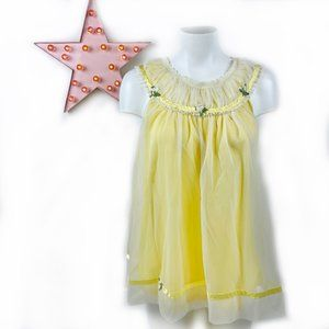 VINTAGE!! 1970s Yellow Baby Doll Nightie Top 70s